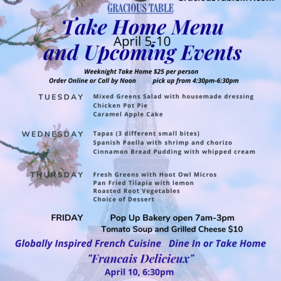 Take Home Menu & Events