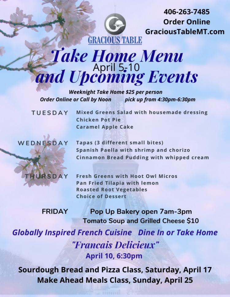 Take Home Menu & Events